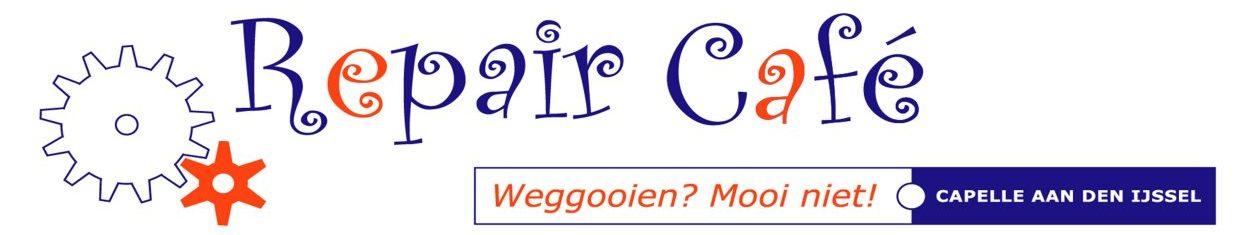 Het Repair Café Capelle aan den IJssel is in verband met de coronamaatregelen vanaf 12 oktober 2020 tot nader order GESLOTEN.